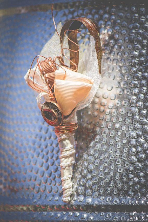 Men's Vintage Unique Blush Copper Buttonhole by MeadowMenagerie