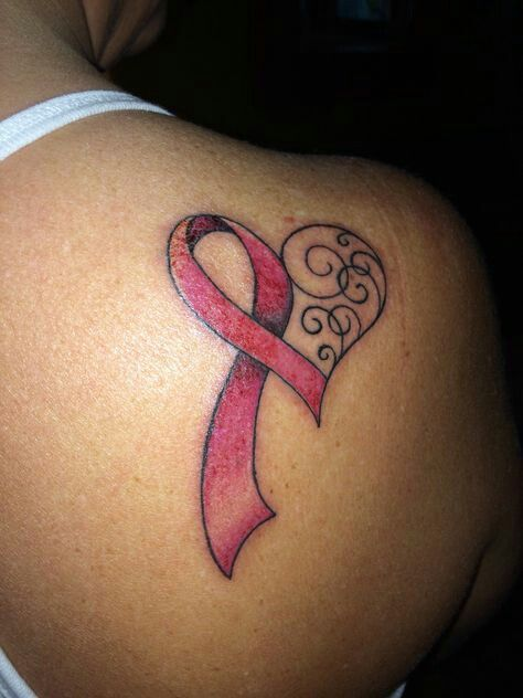 Heart Breast Cancer Tattoo