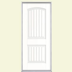 Cheyenne 36 in. x 80 in. Pure White Prehung Right-Hand Inswing 2-Panel Fiberglass Entry Door with No Brickmold-49379 at The Home Depot