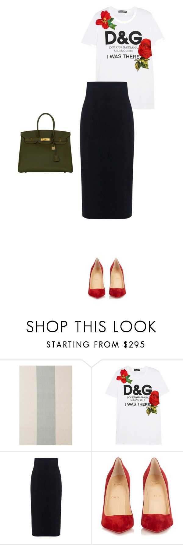 """Красные туфли"" by nadlenko ❤ liked on Polyvore featuring Dolce&Gabbana, 10 Crosby Derek Lam, Christian Louboutin and Hermès"