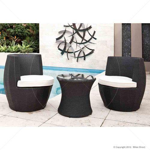 Outdoor Rattan Wicker Stacking Vase 3pc Set - Black