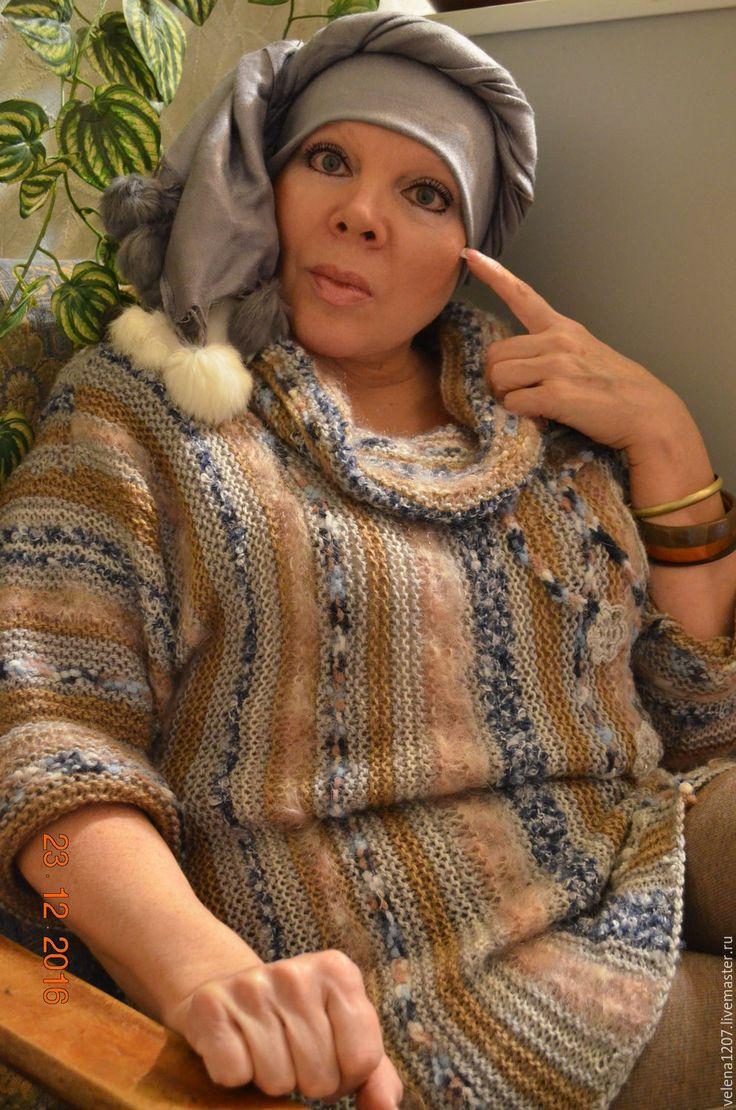"""Купить Туника-свитер """"Картина маслом"""" - серый, в полоску, свитер вязаный, свитер женский"""