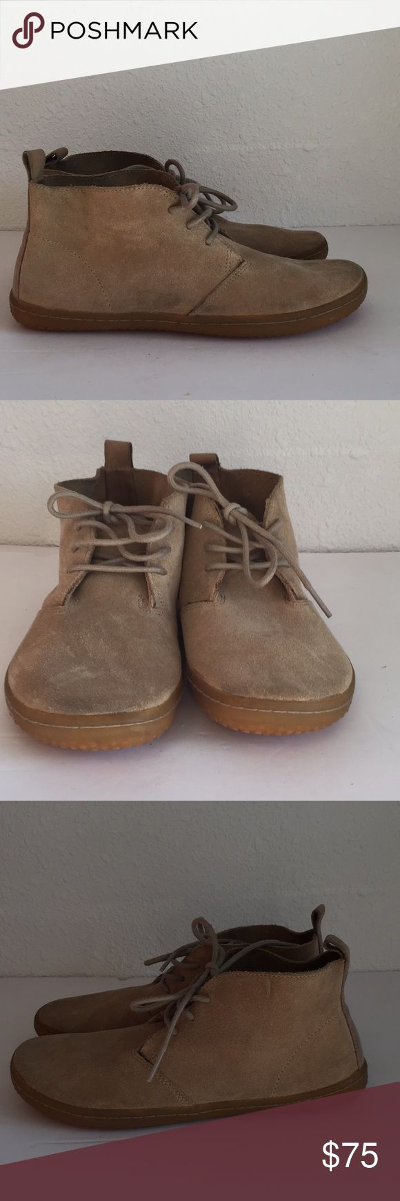 ViVobarefoot Gobi Chukka Boots Women's 37 (sz 7) ViVobarefoot Gobi Chukka Boots Men's 37. GREAT used condition. Tan suede Leather, slight marks as seen in pics. Minimal wear on bottoms. Vivo barefoot Shoes Winter & Rain Boots