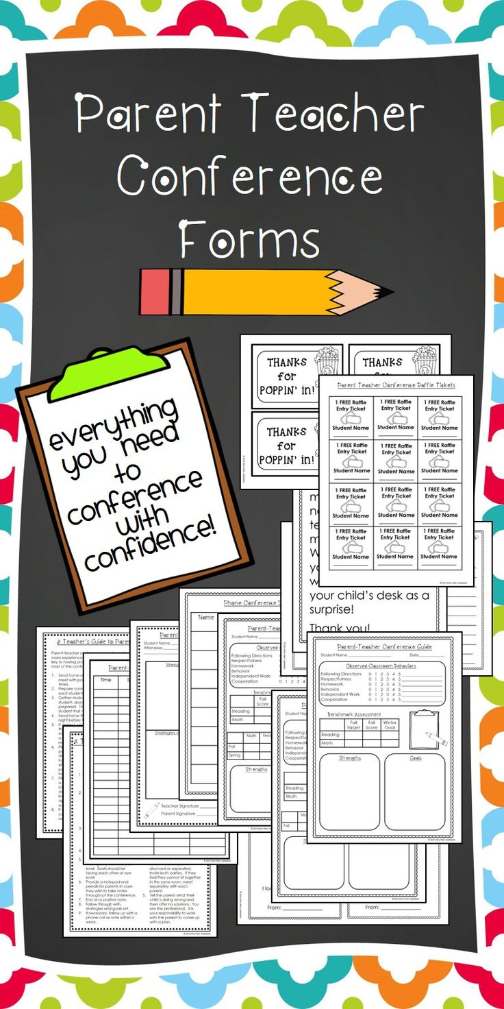 Parent teacher conferences are easy and less stressful with these forms, ideas, and tips. Wondering what to say at parent teacher conferences? This kit has everything: questions, handouts, letters, schedule, sign, notes, reminders, invitations, checklist, comments, goals sheets, and templates. You can even make a cute thank you gift for parents!