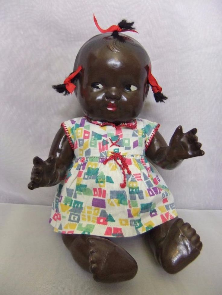 Vintage 11 Composition Black Topsy Doll Bent Limb Baby