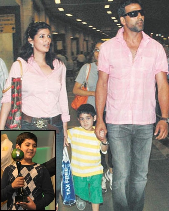 Twinkle and Akshay Kumar with his Aarav.