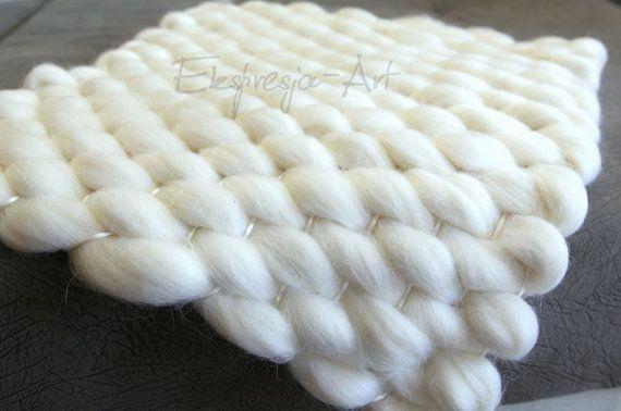 Wool blanket 45x40cm WHITE-ECRU, photo prop, baby photo props, merino, chunky