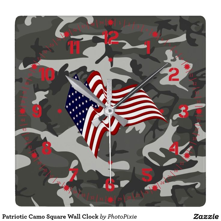 Patriotic Camo Square Wall Clock
