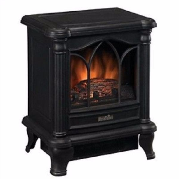 This Black Freestanding Electric Stove Style Fireplace Space Heater adds charm, ambiance and warmth to any room. This stove has a charming picture window with arched frame detailing. The stove can wor