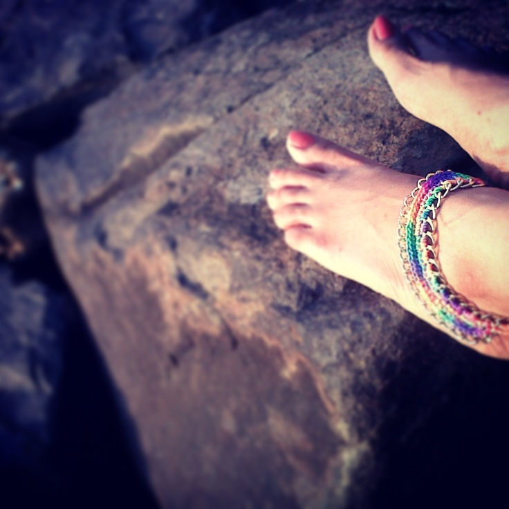Colorful Crochet and Gold Chain anklet  (Price : Rs 300)  (Made to Order)   accessories   anklets   colorful   thewhackyshop  