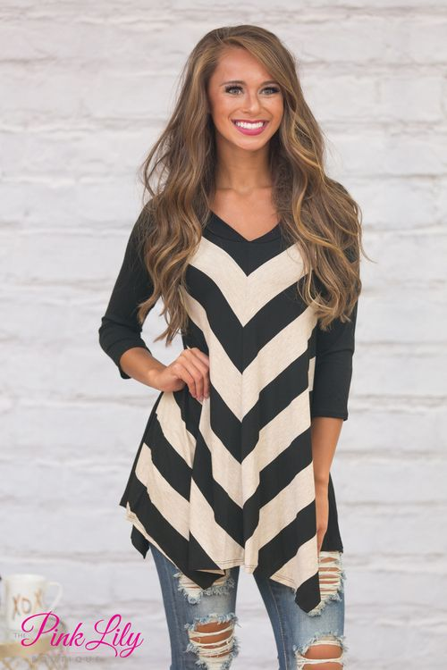 This gorgeous asymmetrical hem tunic is simply the perfect way to add some bold stripes to your wardrobe!