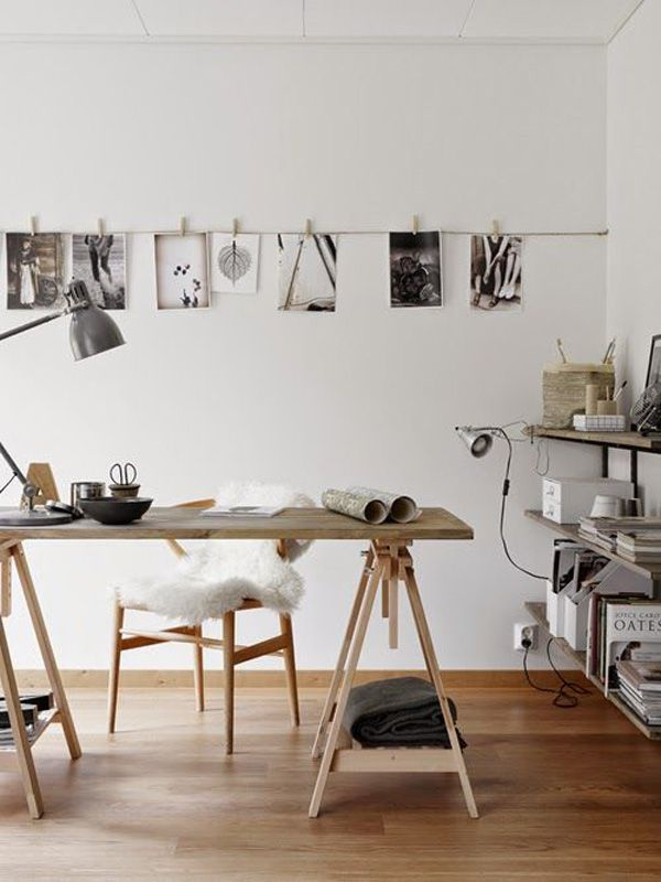 For everyone who loves photography, this is a perfect home-office idea that doesn't need a lot of decoration. Just some of your own shots, a perfect spot where there is sufficient light in the morning and cool lamps to help you when working at night.