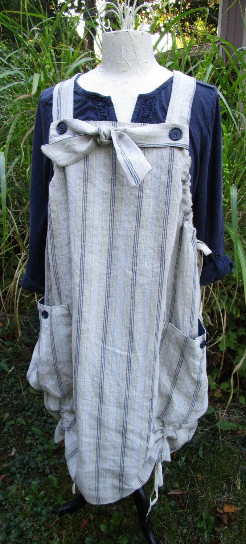 Stripe Linen Market Jumper with Big Pockets Lagenlook by muircourt