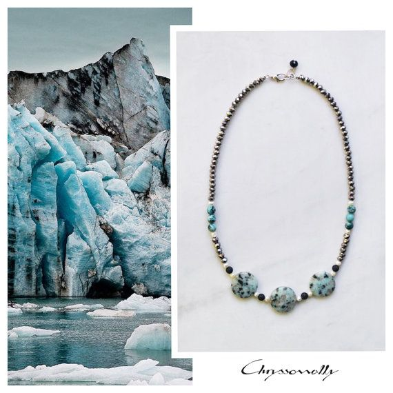 CSN010 - Chryssomally statement necklace with mint green-turquoise jasper and jade, white pearls, black lava stones and silver crystals