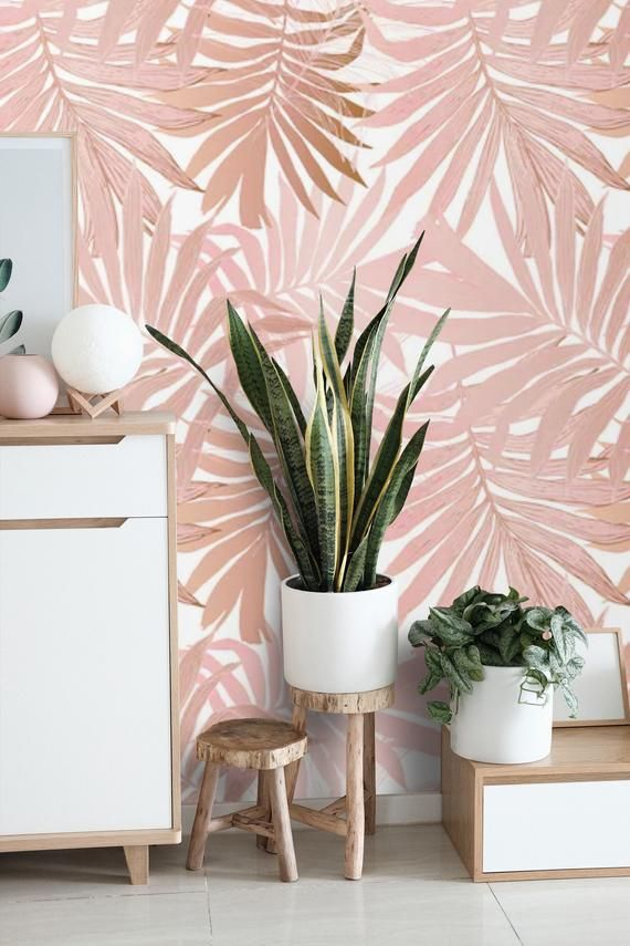 Removable Wallpaper Palm Leaves Peel And Stick Wallpaper Blush Etsy Room Wallpaper Tropical Wallpaper Pink Accent Walls