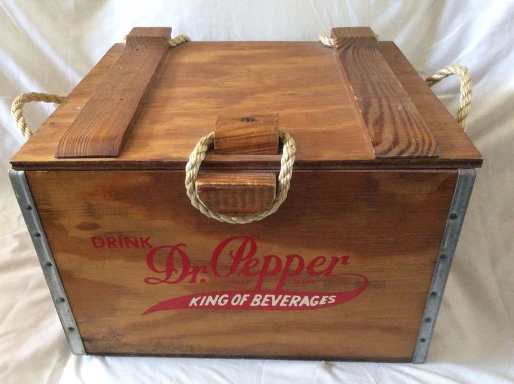 Dr. Pepper King of Beverage 100th Anniversary Wood Crate Cooler Box ice chest | eBay