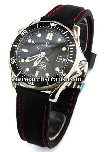 Silicon Rubber Watch Strap With Stitching On Stainless Steel Deployment Omega Seamaster Professional