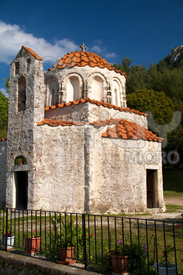 Traditional Greek orthodox chapel on the island of Rhodes Greece