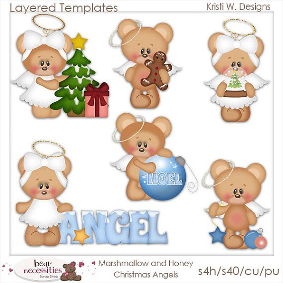 Marshmellow & Honey Bears Christmas Angels PSD by marlodeedesigns, $5.00
