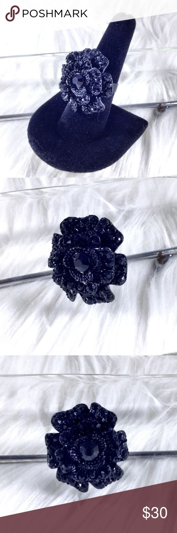 "Gothic Black Marcasite Crystal Rose Statement Ring Large open rose 🌹 all black metal with black faceted shiny crystals pave Marcasite style. Adjustable 8+. Rose is 1"" x 1"". Cocktail statement ring 1 available contrast is played with so you see the detail in crystals. Gothic Baroque art nouveau Victorian mourning jewelry bohemian.   🌟 Save the most with bundles. I offer 25% OFF on 2+ items and accept reasonable offers on items & bundles. NO trades/holds/lowball offers. Boutique Jewelry…"