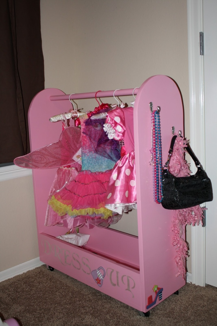 great storage idea for dress up clothes going to ask hubby to make one kids rooms. Black Bedroom Furniture Sets. Home Design Ideas