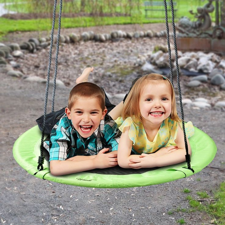 """Tree Nest Swing, Wuudi Children's Outdoor Large Size 40"""" Diameter Durable Swing - Easy Install on Swing Set or Tree, Nylon Rope with Padded Steel Frame - Green. KIDS IN ACTION: The Flying Wuudi TM 40"""" Saucer Tree Swing is just the thing to get everyone outside. They'll spend hours exercising without even knowing it! You won't be able to get them inside. ALL AGES: Recommended but not limited to ages 3-12, this swing is great for anyone to hop on and play. 40"""" in diameter, the Flying Wuudi..."""
