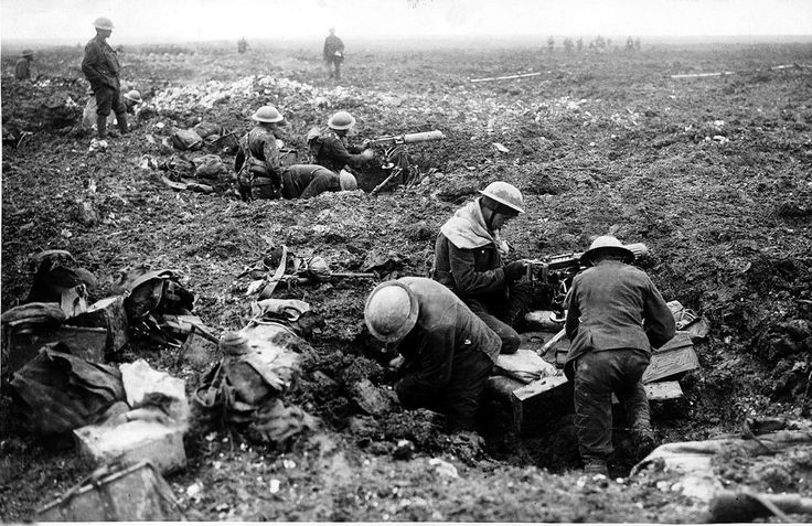 Canadian machine gunners take over shell holes at Vimy Ridge, France in April 1917.