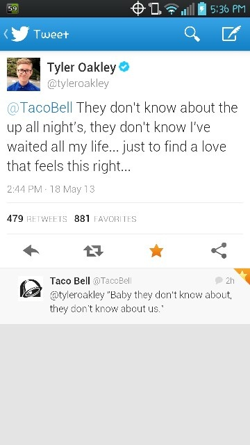 Tyler oakley I love you :) fangirling cuz Taco Bell replied tweeted Tyler with more 1D lyrics from that song!!!!!!!!!!! <3 i have a whole new love for Taco Bell now.