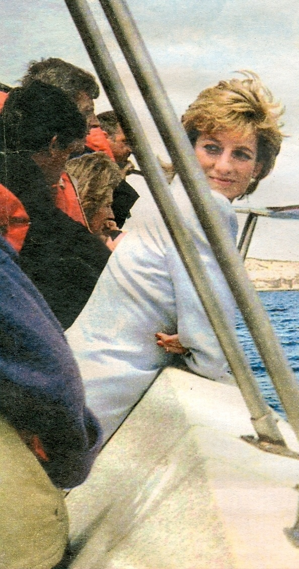 November, 1995: Diana, Princess of Wales watching whales in Argentina.