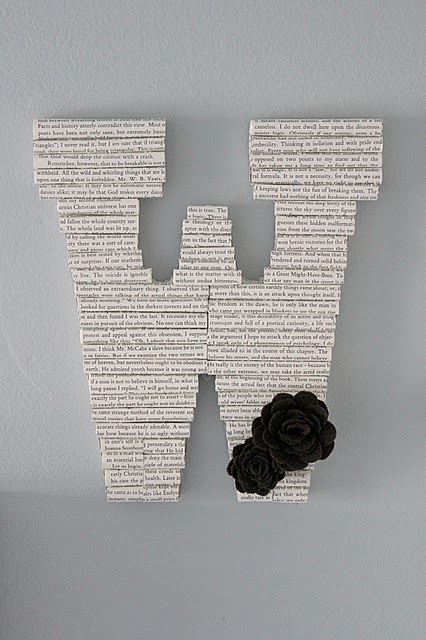 Book letters. Adore books and the black and white customizable feel.