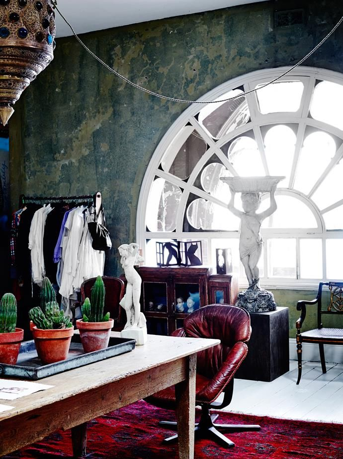 The dressing room showcases the original arched window visible from the street.   Photo: Mark Roper   Story: Belle