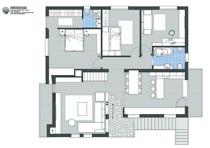 Casa M - Progetto di ristrutturazione e modifiche interne. Pianta piano primo                 - Massimo Rinaldo architetto -