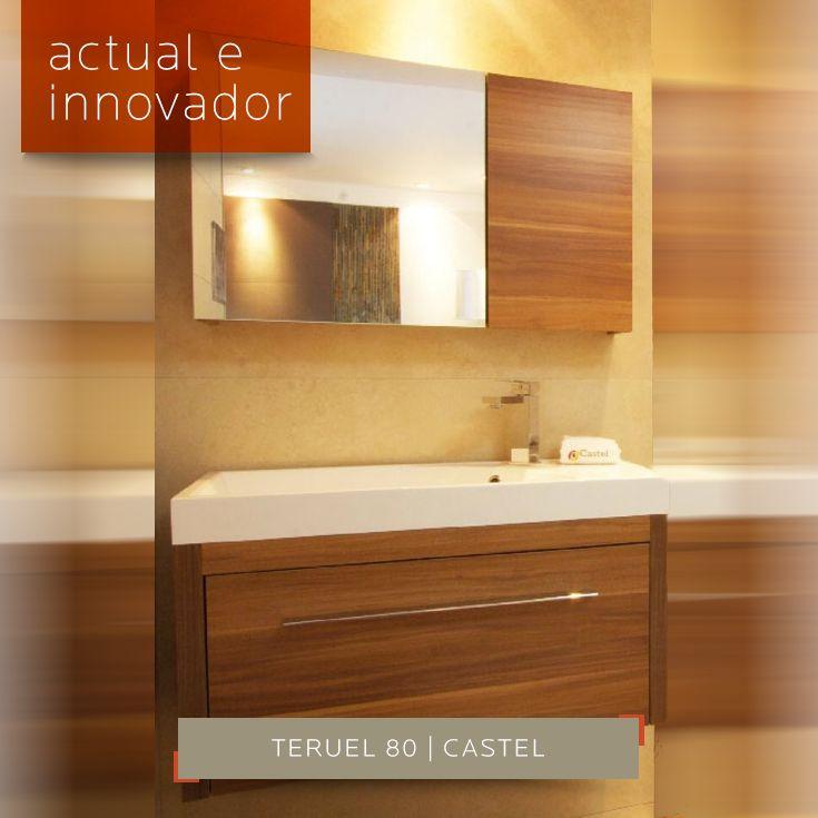 Teruel 80 el #mueble de #baño con diseño actual e innovador disponible en color Cerezo y Teka con medida 800x470x370 mm y medida espejo 800x500x140 mm. Encuéntralo aquí en DECERAMICA.COM