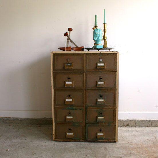 Vintage Industrial Storage Cabinet Atlanta Furniture Side Table Home Decor Mailbox Mail Box File Post Office Drawers Men Bar Cart Greek Key by RhapsodyAttic on Etsy https://www.etsy.com/listing/105053689/vintage-industrial-storage-cabinet