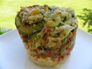 Ingrédients : 2 oignons 5 g + 5 g + 5 g d'huile d'olive 120 g de riz cru 15 g de pâte d'ail 500 g de farce à légumes 1 boite de tomates concassées 1 c à s de concentré de tomates ½ cube de bouillon de légumes 200 g d'eau 4 courgettes 60 g de gruyère râpé...