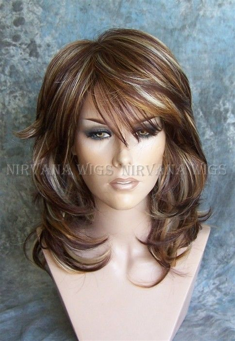 Delectable Mixed Auburn and Blonde Layered Wig. Sexy as can be!
