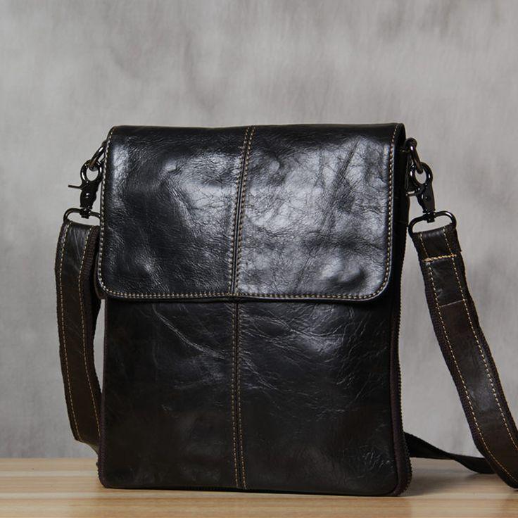 ROCKCOW Men's Genuine Leather Messenger Bag Crossbody Shoulder Bag Satchel Bag For Men 3204