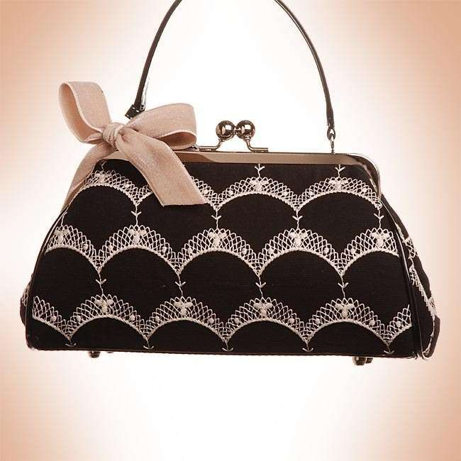 black and white color vintage purse