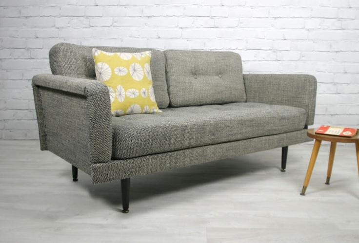 retro vintage midcentury danish style sofa bed daybed eames era 1950s 60s modern vintage. Black Bedroom Furniture Sets. Home Design Ideas