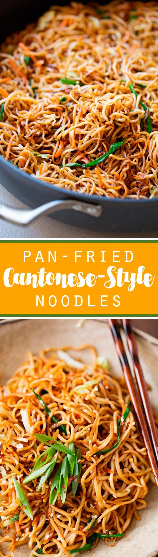 Cantonese-Style Pan-Fried Noodles - smokey noodles just like your favorite restaurants and it's a quick 30 minutes to make! That's faster than takeout! #cantonesenoodles #panfriednoodles #chowmein | http://Littlespicejar.com