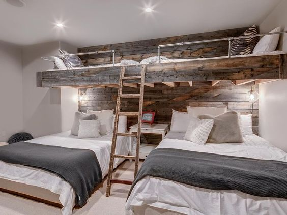 Bunk rooms are a great solution for sleeping lots of people in a mountain home.  The more the merrier I say. You could rent this house!