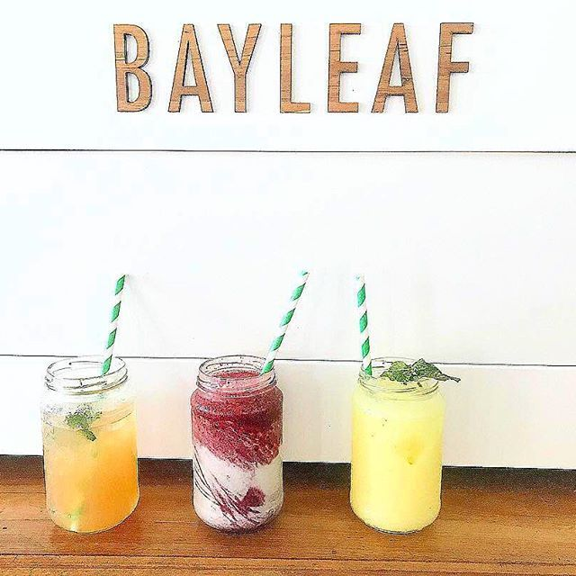 @gabbyjarc quenching her thirst with three of our most popular beverages - The Steam Punk Fruit Shrub, Bayleaf Berry Smoothie, & Iced Tumeric 🍹 (from left to right). #bayleafcafe #byronbay #byroncafe #byronlife #byron #cafe #breakfast #brunch #lunch #food #foodstagram #instafood #coffee #drinks #smoothie #refreshing #icedtea #shrub