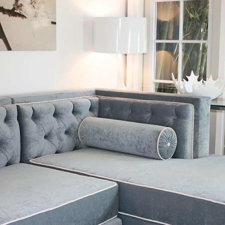 Decenni Custom Furniture u0027Tobiasu0027 Wedgewood Blue Tufted 8-foot Sectional Sofa by Decenni Custom Furniture : 8 ft sectional sofa - Sectionals, Sofas & Couches