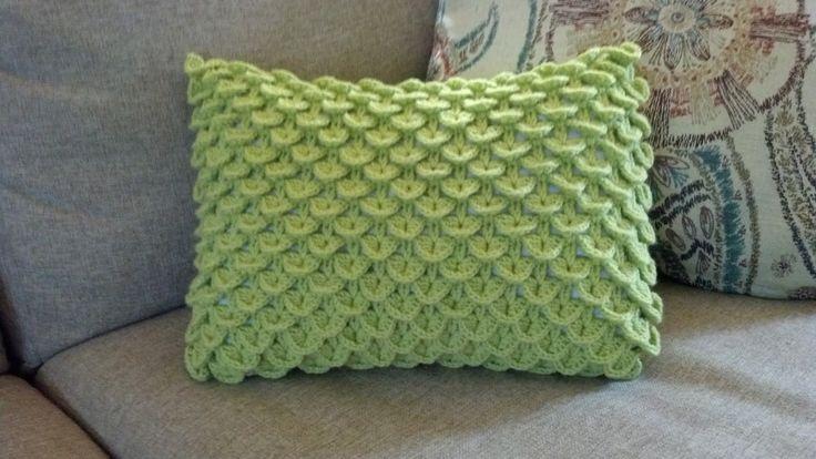"FREE PTRN: CROCHET. 'Crocodile Stitch Pillow'. Sz. 12"" x 16"" YARN: 2 skeins Red Heart Designer Sport yarn (Celadon), HOOK: Size E"