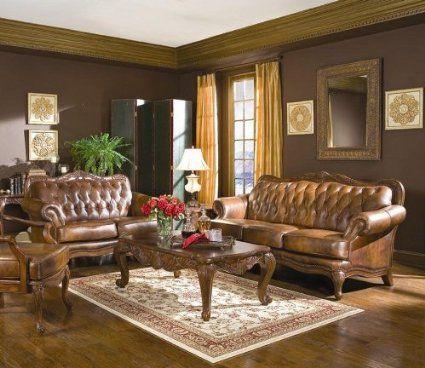 Amazon.com   Victoria Classic Button Tufted Leather Sofa Set   Living Room  Furniture Sets