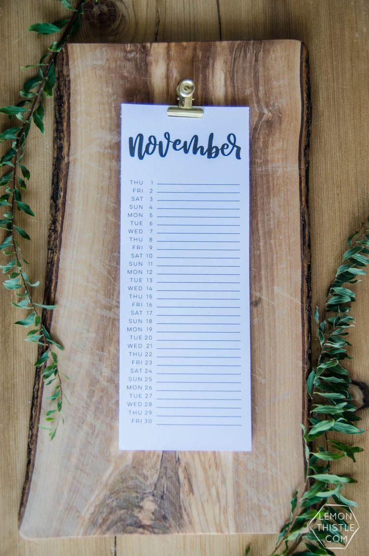 2018 Handlettered Calendars- Lemon Thistle.com