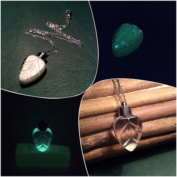 """""""Light of Eärendil"""" : 2 versions of homemade night-glowing leaf shaped glass pendant.   It was given by Galadriel to Frodo Baggins in a crystal phial.  """"May it be a light to you in dark places, when all other lights go out."""" - LOTR Fellowship of the Ring by J.R.R. Tolkien (Chapter 8 - Farewell to Lórien)"""