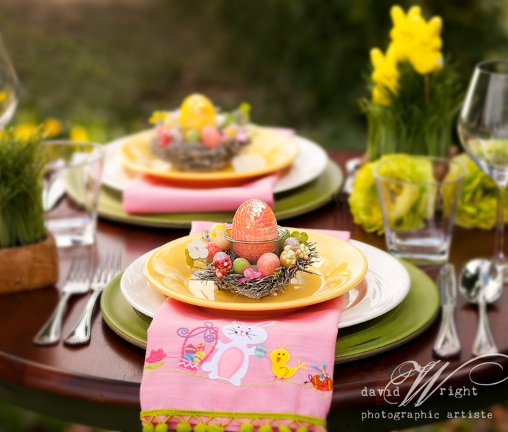 Beautiful Easter table setup by Dinner4Two.  www.theWrightlight.com