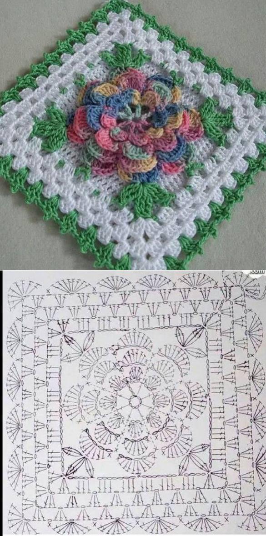 cuadrado de la abuelita | ganchillo | Pinterest | Cuadrados y Ganchillo