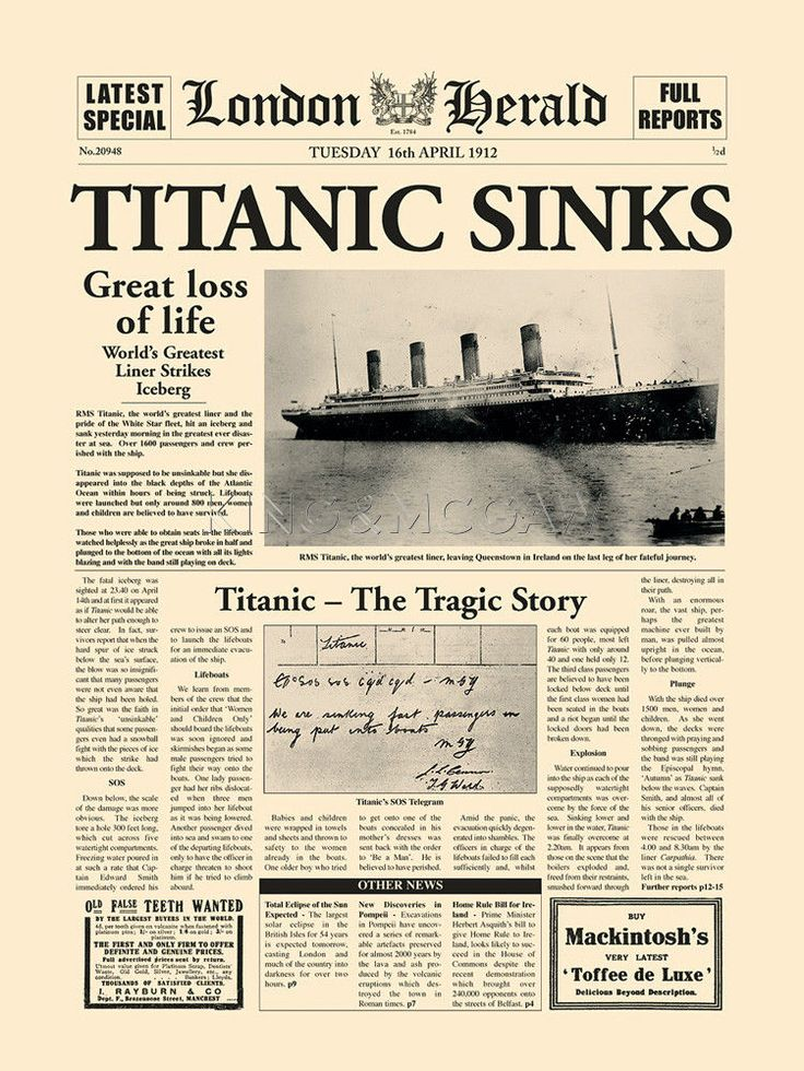 essays on the sinking of the titanic When people hear the name titanic many vivid and emotional images come to mind visions of the very last yet frantic final moments titanic spent afloat before sinking to its watery grave.